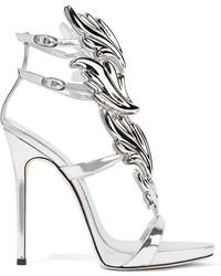 Giuseppe Zanotti Cruel Embellished Metallic Leather Sandals Silver