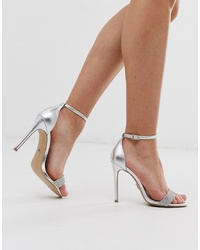 Lipsy Diamante Barely There Heeled Sandal In Silver