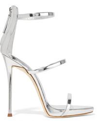 Giuseppe Zanotti Harmony Metallic Leather Sandals Silver