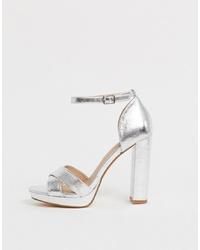 Head over Heels by Dune Head Over Heels Namba Silver Flatform Heeled Sandals