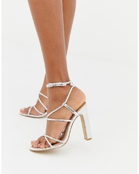 Office Heaven Silver Snake Py Heeled Sandals