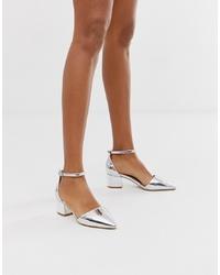 RAID Julia Silver Ankle Cross Mid Heeled Shoes