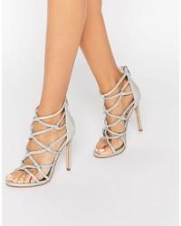 Dune Memphiss Silver Metallic Caged Heeled Sandals