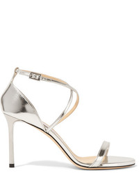 Jimmy Choo Meto Hesper Metallic Leather Sandals Silver