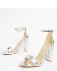 Glamorous Wide Fit Silver Barely There Block Heeled Sandals