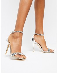 Glamorous Silver Mirror Barely There Heeled Sandal Mirror