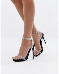 SIMMI Shoes Simmi London Jenny Black Embellished Heeled Sandals