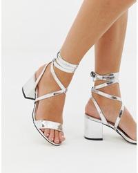 Public Desire Sophie Silver Mirror Ankle Tie Mid Heeled Sandals