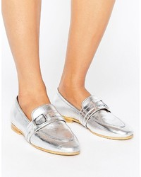 Office Leer Silver Leather Loafers