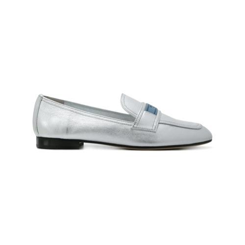 79fceead £339, Prada Silver Logo Leather Loafers