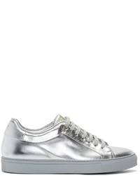 Silver Leather Low Top Sneakers