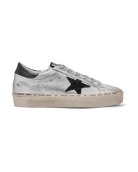 Golden Goose Deluxe Brand Hi Star Glittered Distressed Metallic Leather Platform Sneakers