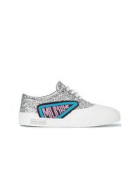 Miu Miu Silver Glitter Logo Patch Sneakers