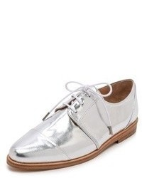 Silver Leather Oxford Shoes