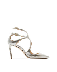 Jimmy Choo Metallic Lancer 85 Pointed Toe Leather Pumps