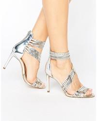 Carvela Girl Silver Leather Strappy Heeled Sandals