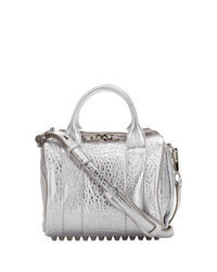 Silver Leather Satchel Bag