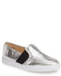 Silver Leather Slip-on Sneakers