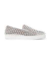 Christian Louboutin Roller Boat Spiked Metallic Textured Leather Slip On Sneakers