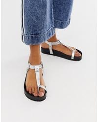 ASOS DESIGN Filmore Premium Leather Minimal Footbed Toe Loop Sandals