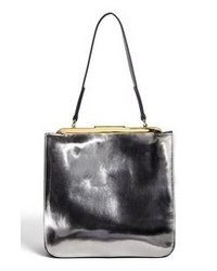 Silver Leather Tote Bag