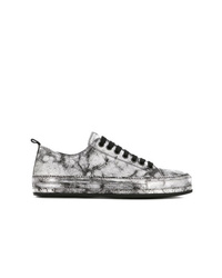 Ann Demeulemeester Low Top Cracked Sneakers