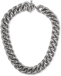 Bottega Veneta Oxidized Silver Necklace One Size