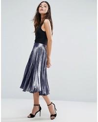 Metallic pleated midi skirt medium 1211719