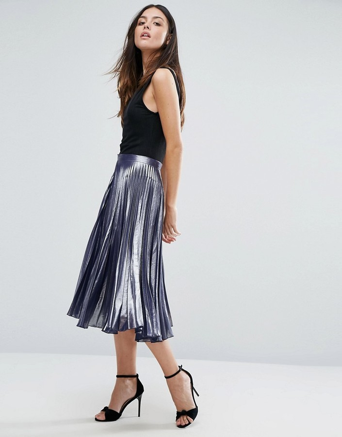 9480655c13 Warehouse Metallic Pleated Midi Skirt, £36 | Asos | Lookastic UK