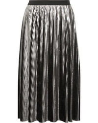 Pleated lam midi skirt silver medium 1211707