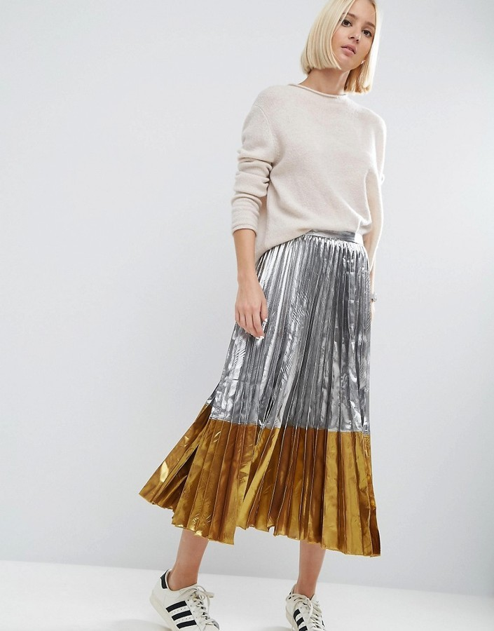 low priced details for new release £23, Asos Pleated Midi Skirt In Metallic With Contrast Hem