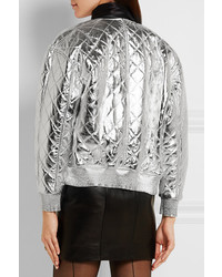 3d67d4a7526 ... Saint Laurent Quilted Metallic Leather Bomber Jacket Silver