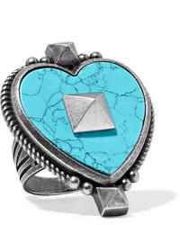 Valentino Burnished Silver Tone Enamel Ring