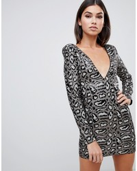 Club L Sequin Dress In Grey Leopard