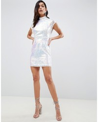 ASOS DESIGN T Shirt Mini Dress In Sheet Sequin