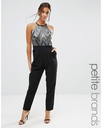 Paper Dolls Petite Sleeveless High Neck Sequin Bodice Jumpsuit