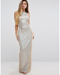 PrettyLittleThing Sequin Maxi Dress With Mesh Panels