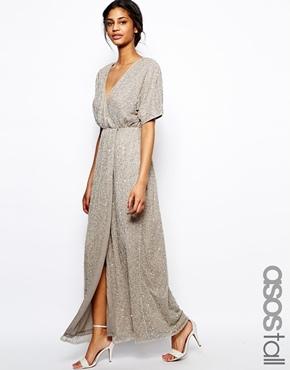 49fffab4b08 ... Asos Tall Sequin Kimono Maxi Dress ...