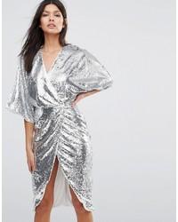 Club L Kimono Sleeve Midi Dress In All Over Sequin