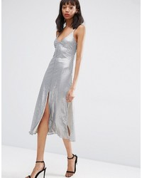 Asos Night Embellished Metal Sequin Cami Midi Dress
