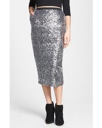 Leith Sequin Midi Skirt Silver X Small