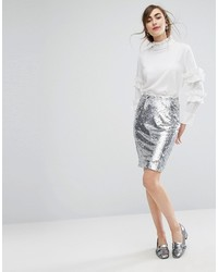 Efla Sequin Pencil Skirt With Frill Detail