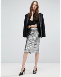 Asos Pencil Skirt In Metallic Snake Print