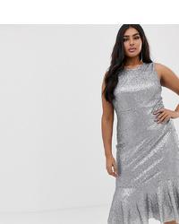Club L London Plus Club L Plus All Over Sequin Peplum Midi Dress