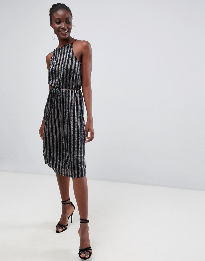 Warehouse Halter Neck Midi Dress In Metallic Stripe