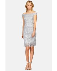 Kay Unger Off The Shoulder Lace Sheath Dress