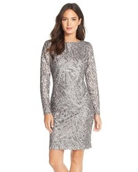 Marina Sequin Embellished Mesh Sheath Dress