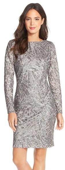 Marina Sequin Embellished Mesh Sheath Dress