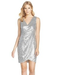 Adrianna Papell Sequin Faux Wrap Sheath Dress
