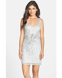 Aidan Mattox Sequin V Neck Sheath Dress